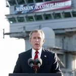 Bush on aircraft carrier declaring victory in Iraq