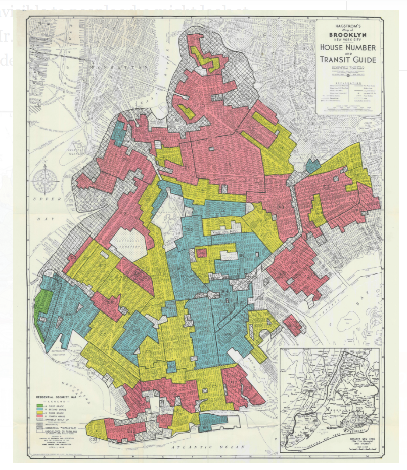 Homeowners Loan Company redlining map circa 1934 - Brooklyn NY
