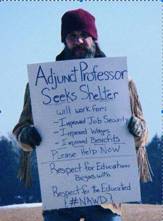 Adjunct Professor Seeks Shelter. Will work for Improved Job Security, Improved Wages, Improved Benefits. Please Help NOW