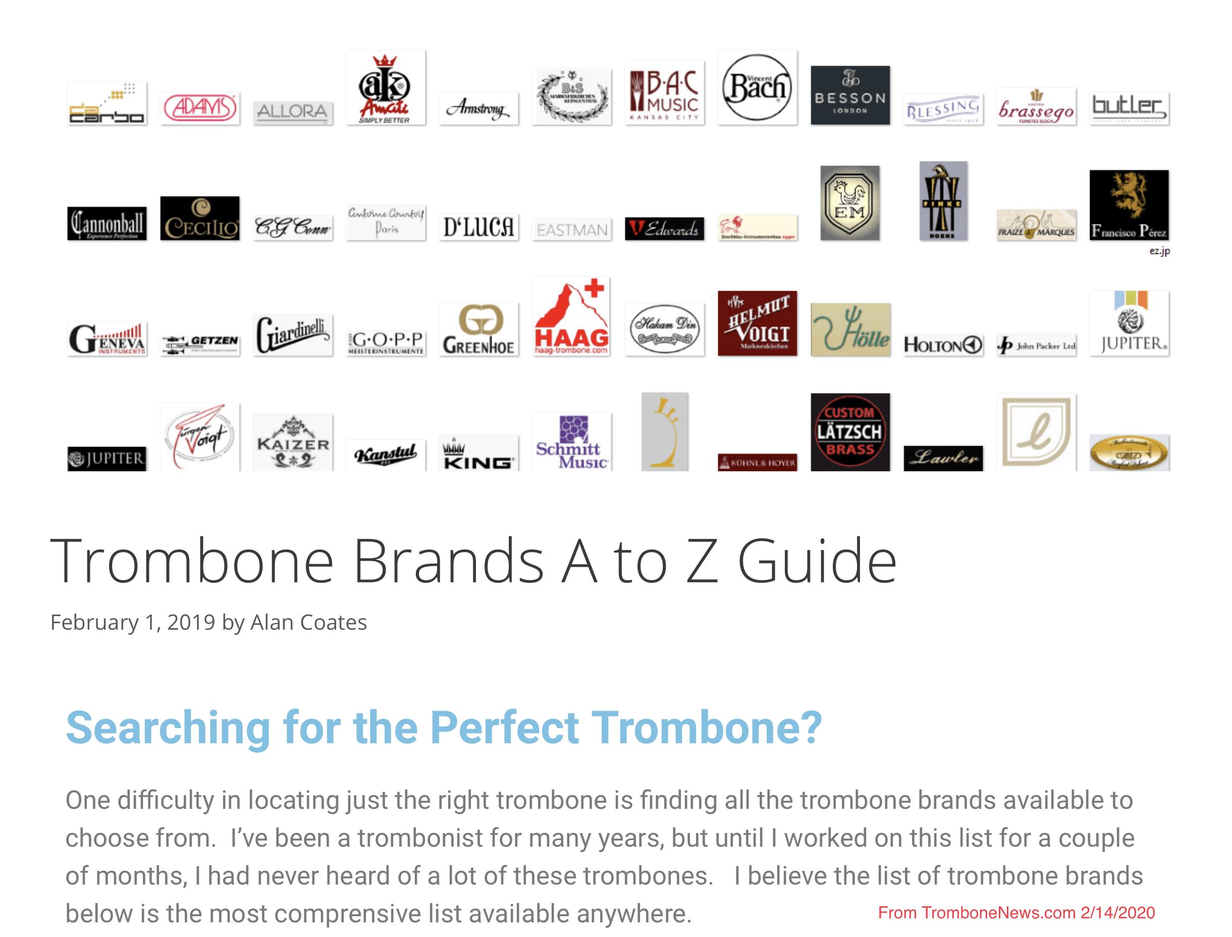 02142020-trombone brands a to z guide trombone news